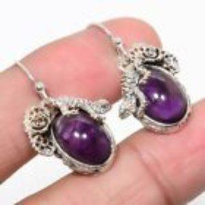 Natural African Amethyst & 925 SS Earrings
